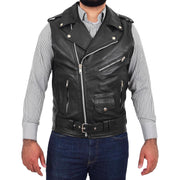 Mens Cowhide Leather Biker Waistcoat Sleeveless Brando Style Gilet Hurley Black Front 2