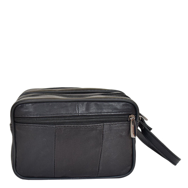 Gents Real Leather Wrist Bag Clutch Travel Black Bag Mason Back