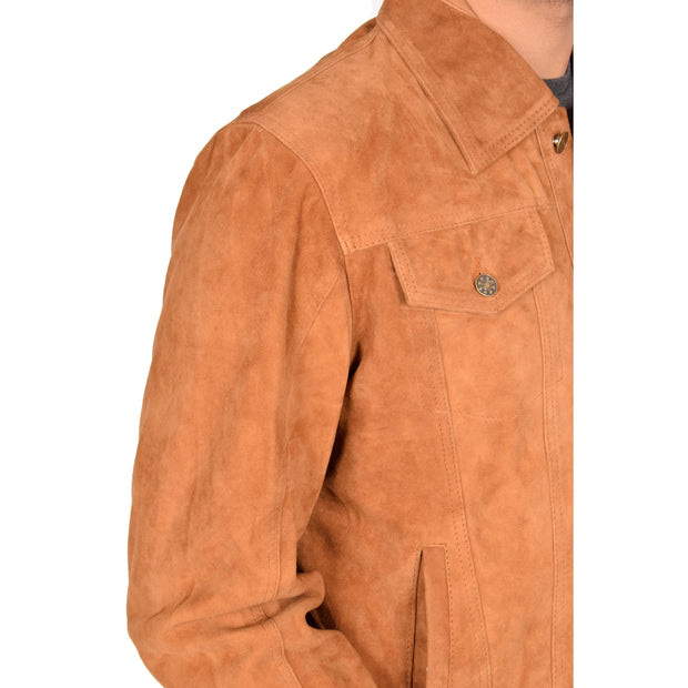 Mens Real Soft Goat Suede Trucker Denim Style Jacket Chuck Tan Feature