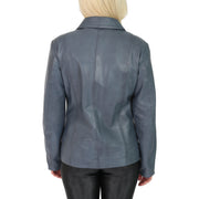 Womens Classic Fitted Biker Real Leather Jacket Nicole Blue Back