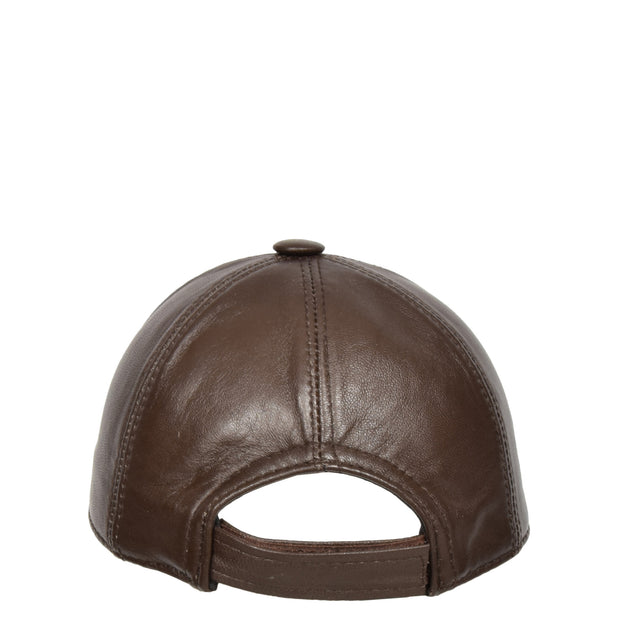 Genuine Leather Baseball Cap Sports Casual Viper Brown Back