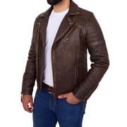 Mens Real Leather Biker Jacket Vintage Copper Rust Rub Off Slim Fit Style Max Open 2