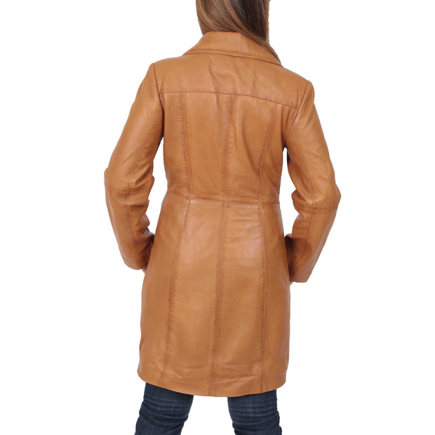 Womens 3/4 Button Fasten Leather Coat Cynthia Tan Back
