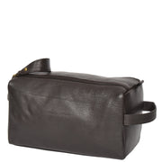 Genuine Soft Leather BROWN Travel Wash Bag A179 Front Angle