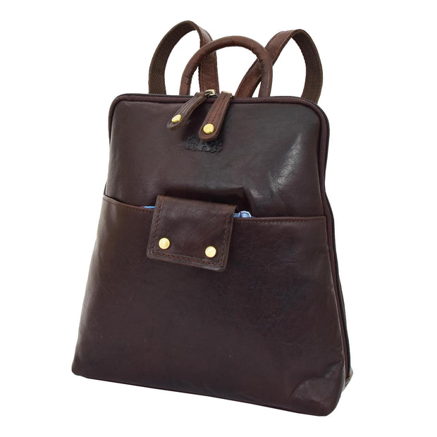 Womens Backpack Brown LEATHER Rucksack Travel Organiser Evie