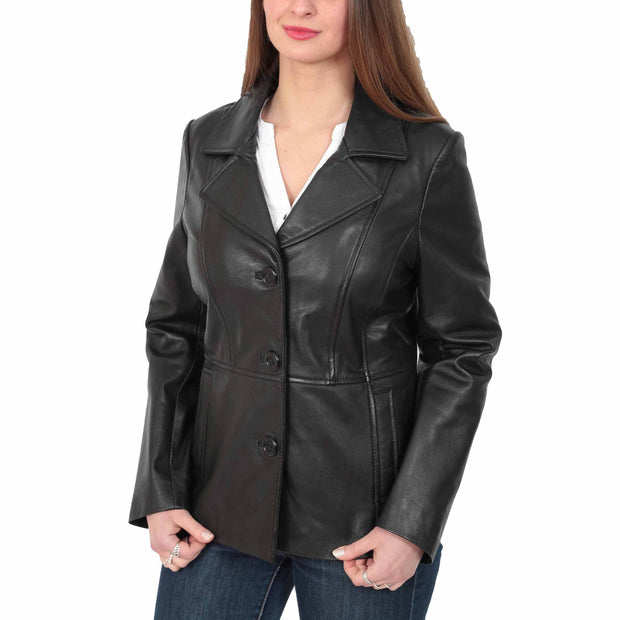 Ladies Leather Blazer Coat Fitted Classic Hip Length Jacket Judy Black Front