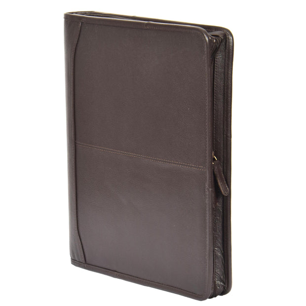 Zip Around Folio Leather Folder A4 Binder Organiser Underarm Bag A1 Brown Stand