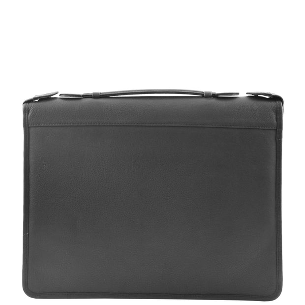 Black Leather A4 Ring Binder File Folio Office Bag Zip Organiser Braga Front 2