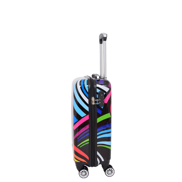 Cabin Size Suitcase Multicolour Hearts Travel Bag 4 wheel Hand Luggage A20S Side