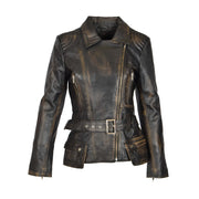 Womens Biker Leather Jacket Slim Fit Cut Hip Length Coat Coco Rub Off Front