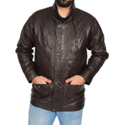 Gents Classic Soft Leather Parka Car Coat Parker Brown Front