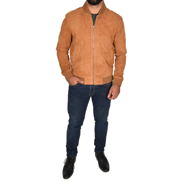 Mens Soft Goat Suede Bomber Varsity Baseball Jacket Blur Tan Full 2