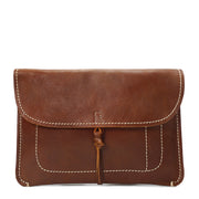 Real Leather Wrist Clutch Bag A5 Size Underarm Folio Case Nixes Tan
