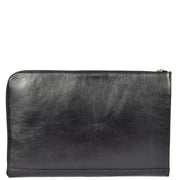 Real Leather Zip Around Folio Underarm iPad Tablet Bag Black A28 Back