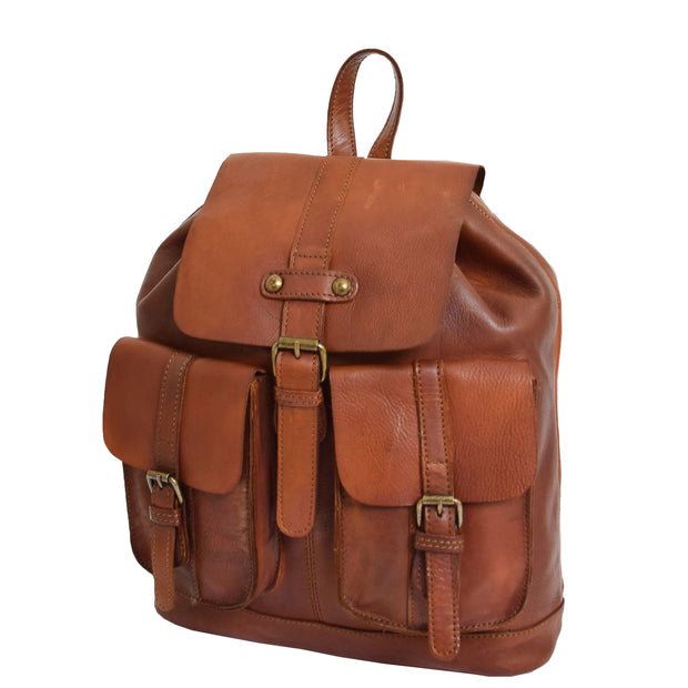 Genuine Vintage Rust Leather Backpack Large Organiser Rucksack AB99 Front