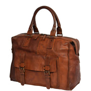 Real Leather Holdall Weekend Cabin Bag Bali Rust Front Angle