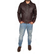 Mens Real Cowhide Bomber Leather Pilot Jacket Lance Burgundy Full