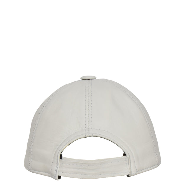 Genuine Leather Baseball Cap Sports Casual Viper White Back