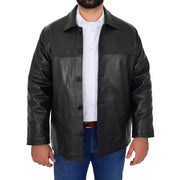 Gents Real Leather Button Box Jacket Classic Regular Fit Coat Luis Black Open 1