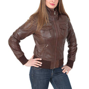 Womens Slim Fit Bomber Leather Jacket Cameron Brown Front 1
