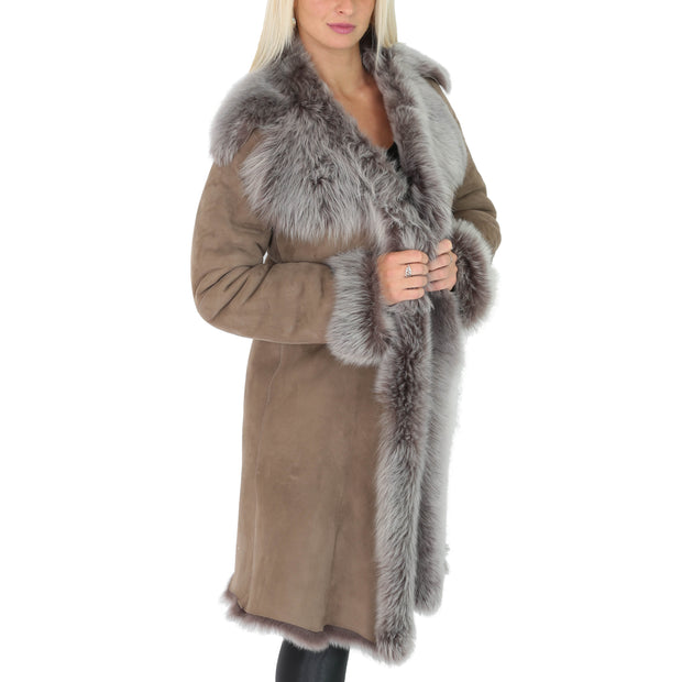 Womens Luxurious Toscana Long Coat Real Sheepskin Pamela Taupe Front 1