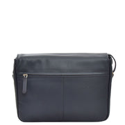Ladies NAVY Leather Shoulder Bag Flap Over Handbag A190 Back