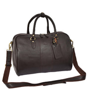 Genuine Leather Holdall Weekend Cabin Duffle Bag A21 Brown With Belt