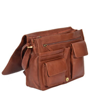 Womens BROWN Leather Messenger Cross body Shoulder Bag A53 Open