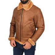 Authentic Aviator Coat Real Sheepskin Vintage Tan Bomber Jacket Tornado Front 2