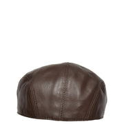 Genuine Brown Leather Flat Cap English Granddad Baker-boy Hat Arthur Back