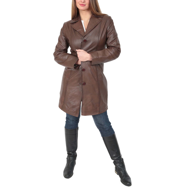 Womens 3/4 Button Fasten Leather Coat Cynthia Brown Full 2