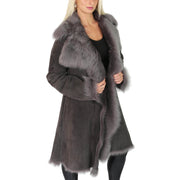 Womens Luxurious Toscana Long Coat Real Sheepskin Pamela Grey side