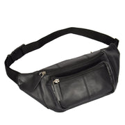 Real Leather Bum Bag Money Mobile Belt Waist Pack Travel Pouch A072 Black