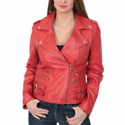 Womens Trendy Biker Leather Jacket Beyonce Red