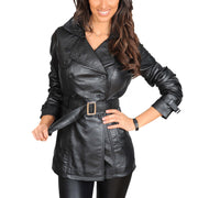 Womens Soft Leather Trench Coat Olivia Black main view
