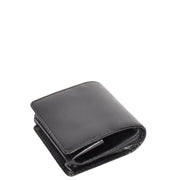 Genuine Leather Coin Tray Wallet Change Case Purse Philip Black Side