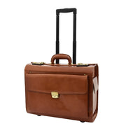 Exclusive Real Cognac Leather Pilot Case Wheeled Cabin Bag Briefcase London