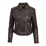 Womens Designer Leather Biker Jacket Fitted Quilted Coat Bonita Brown Front