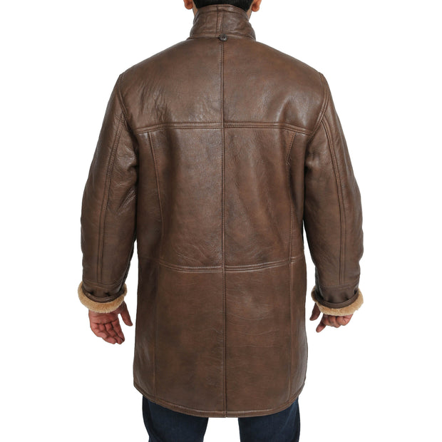 Mens Genuine Sheepskin Duffle Coat 3/4 Long Hooded Jacket Mitchel Brown Back 2