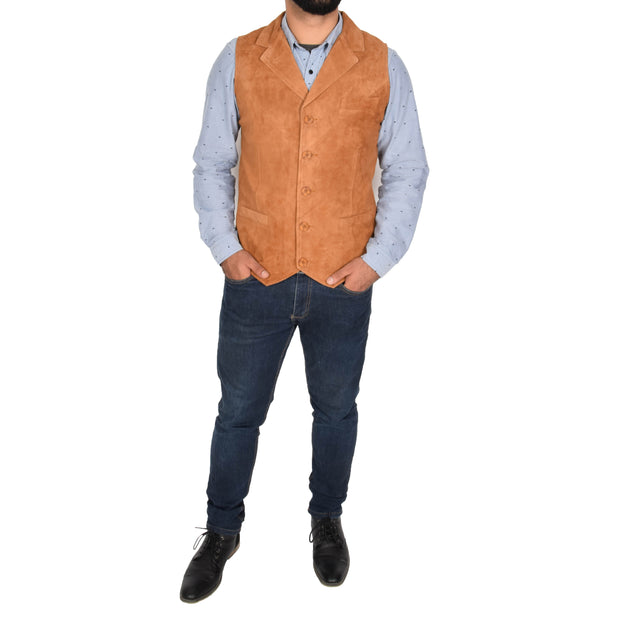 Mens Real Suede Leather Waistcoat Classic Vest Yelek Status Tan Full