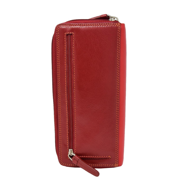 Womens Soft Leather Envelope Clutch Purse Zip Around Wallet AVB55 Red Back