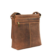 Real Leather Shoulder Messenger Vintage Organiser Flight Bag A761 Tan Back
