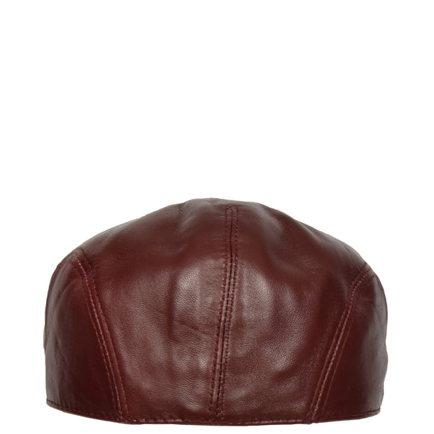 Genuine Burgundy Leather Flat Cap English Granddad Baker-boy Hat Arthur Back