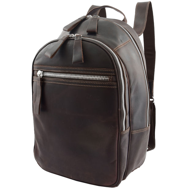 High Quality Genuine Brown Leather Backpack Large Size Work Casual Travel Bag Trek Front Angle