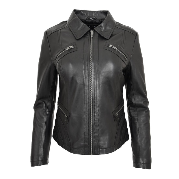 Ladies Soft Leather Jacket Fitted Collared Zip Fasten Biker Style Leah Black Front