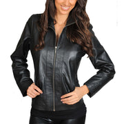 Womens Classic Fitted Biker Real Leather Jacket Nicole Black Front
