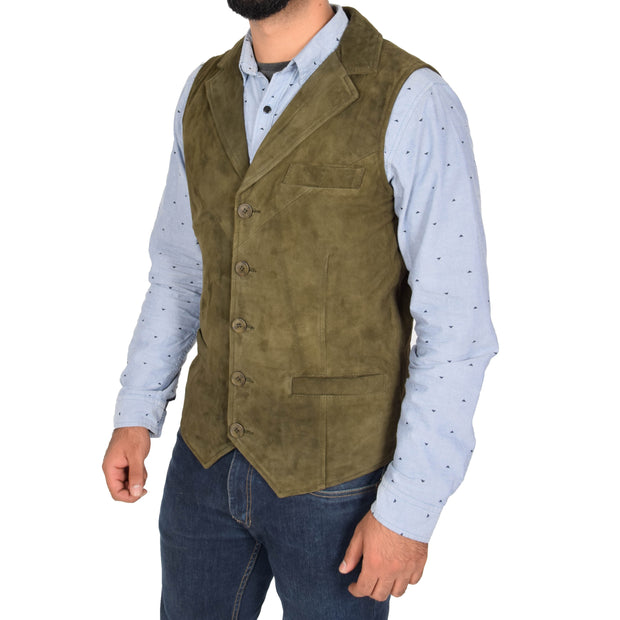 Mens Real Suede Leather Waistcoat Classic Vest Yelek Status Green Front 2