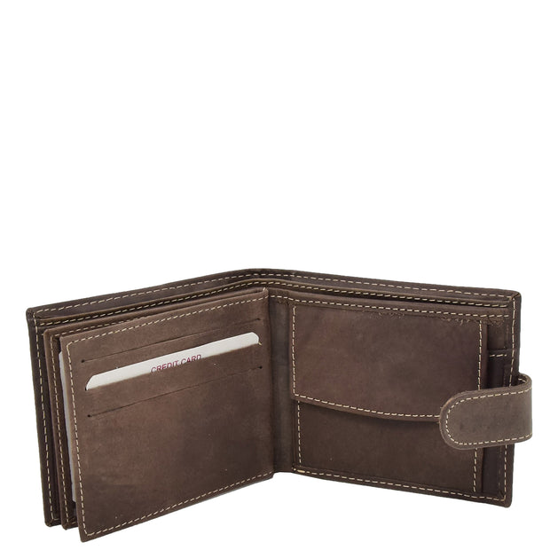 Mens Leather Bifold Wallet Cards Banknote Coins Case Snap Closure AV67 Brown Open 1