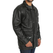 Gents Classic Soft Leather Parka Car Coat Steve Black side view