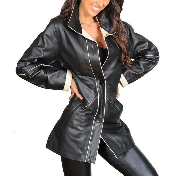 Ladies Classic Parka Real Leather Coat Trim Jacket Lulu Black-Beige Front